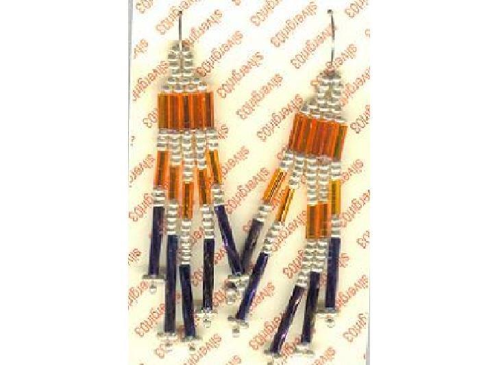 Native American Beaded Earrings Clear Orange Black