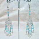 Aqua Czech Pearl Silver Chandelier Earrings