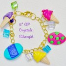 Spring Easter Egg Ice Cream Cone Crystal Charm Bracelet