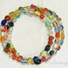 Multicolored OOAK Bead Memory Wire Wrap Bracelet