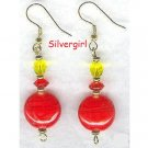 Red Hot Dangle Lampwork Glass Crystal Earrings