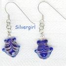 Cobalt Blue Lamp Work Fish Earrings