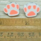 Fluorescent Orange White Pet Paw Polymer Clay Stud Earrings 18mm/3/4""