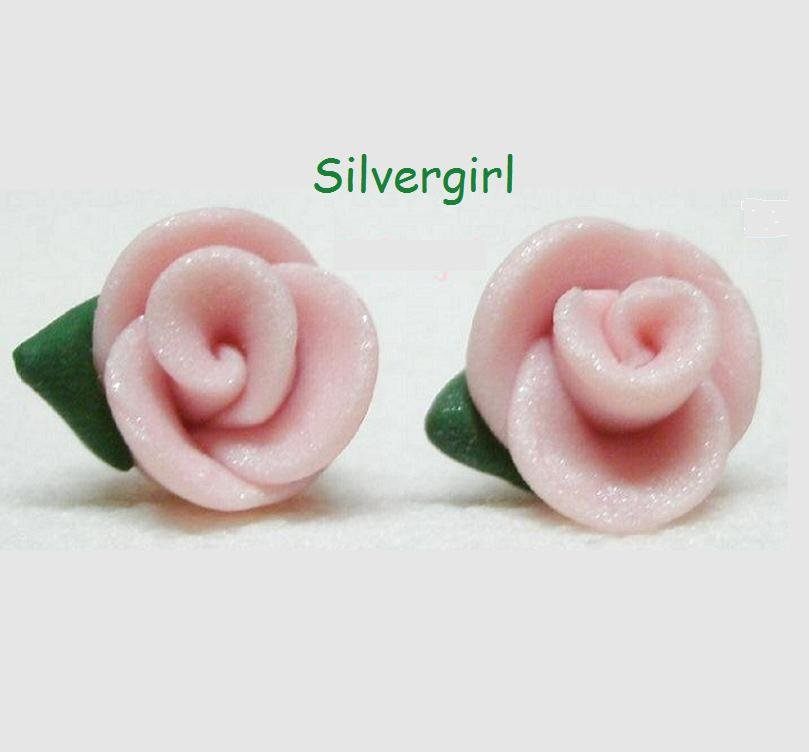 Pearly Pink Polymer Clay Rose Stud Earrings