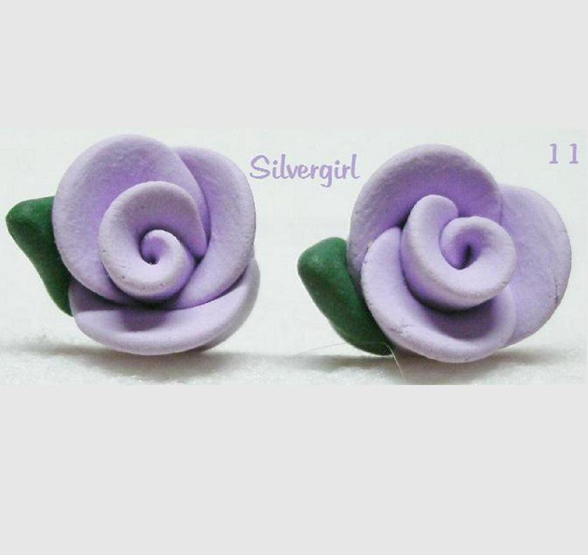 Pretty Lilac Purple Polymer Clay Rose Flower Stud Earrings