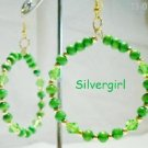 Large Green Glass Wooden Bead Hoop Earrings