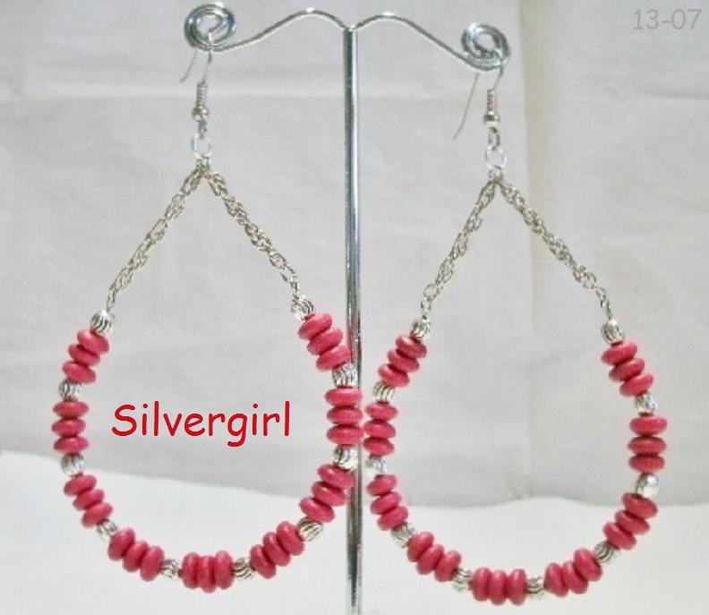 Large Red Glass Wooden Bead Hoop Earrings