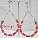 Large Red Glass Wooden Bead Hoop Earrings