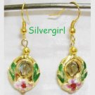 Emerald Green Gold Pink Cloisonne Crystal Earrings