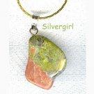 Unakite Green Pink Gemstone Necklace