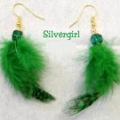 Gold Plate Emerald Green Dyed Feather Dangle Earrings