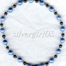 Magnetic Black Hematite Lt Blue Beaded Anklet/Bracelet