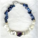 Dark Blue White Cat's Eye Gemstone Chip Bracelet