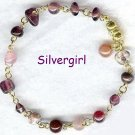 OUTCAST Purple Pink Glass Bead Bracelet