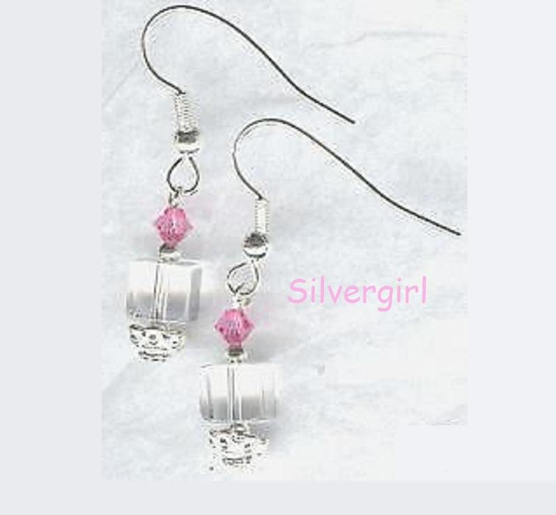 Lead Crystal Clear Cube Pink Swarovski Earrings