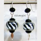 Black White European Style SS Lined Lampwork Beaded Earrings