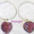 Single Amethyst Glass Leaf Earrings