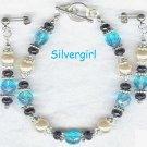 Aqua Sparkle Glass Pearl Bracelet Set