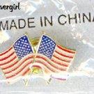 Double Flag USA Coat Lapel Pin
