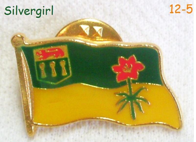 Vintage Saskatchewan Emblem Flower Western Red-Orange Lily Flag Pin-2