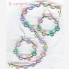 Czech Pressed Glass Rainbow Bracelet Earring Set