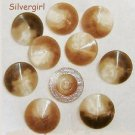 11 Cream Brown Pointed Plastic Shank Buttons