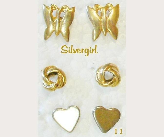 3 Pair Pierced Stud Earrings GP Butterfly Knot Heart