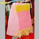 "60"" Long Hand Knit Pink Yellow Scarf"