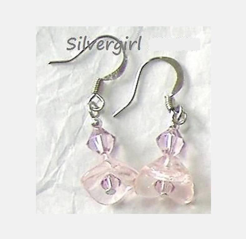 Pink Flower Lilac Crystal Earrings