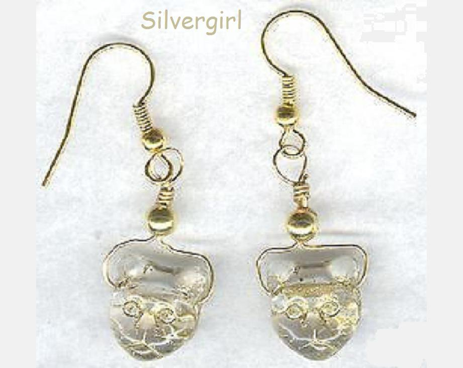Golden Glass Kitty Head Earrings