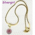 "7"" Light Purple Glass Disc Charm Bracelet"