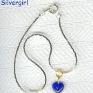 "7"" Royal Blue Heart Charm Bracelet"