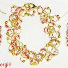 Jump Ring Red Pink Gold Bracelet Earring Set