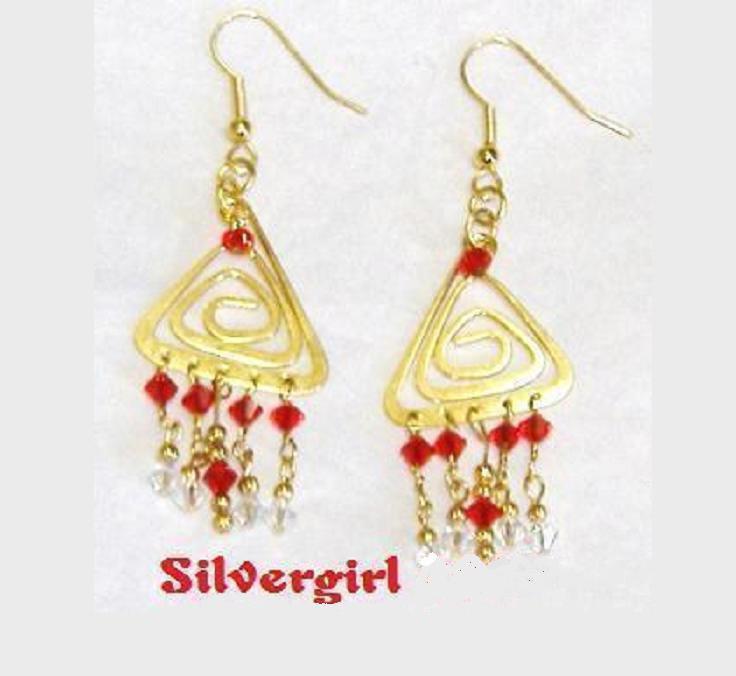 Sparkling Ruby Crystal Chandelier Bead Earrings