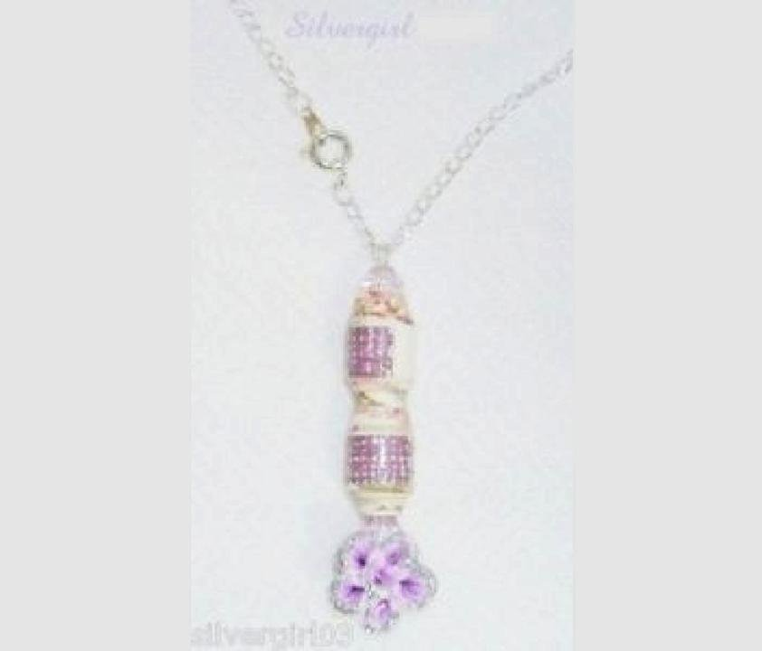 Purple Silver Flower Wrap Crystal Paper Necklace