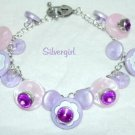 Pink Purple Rhinestone Button SP Charm Bracelet