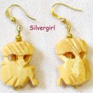 Carved Wooden Masks Gold Plated Earrings