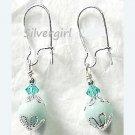 Green Amazonite Crystal Bead Earrings