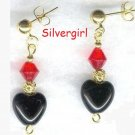 HOLIDAY SPIRIT Red and Black Heart Earrings