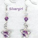 Amethyst Flower Crystal Dangle Earrings