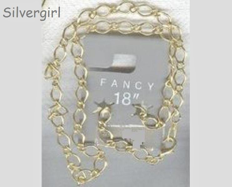 "18"" Gold Plate Fancy Link Chain Necklace"