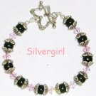 Pink Crystal Black Glass Pearl Silver Plate Bracelet