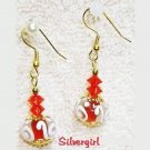 Red & White Swirl Clear Lampwork Dangle Earrings
