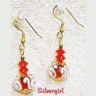 Red & White Swirl Clear Lampwork Dangle Earrings