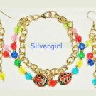 Rainbow and Gold Bracelet and Earring Set