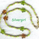 Amber Green Glass Star Beaded Necklace