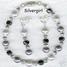 Silver Gray Black Imitation Pearl Glass Bracelet