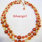 2 Strand Glass Plastic Mix Beaded Vintage Necklace