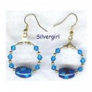Cool Sapphire Crystal Hoop Earrings