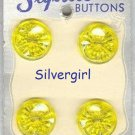 STYLRITE Vintage Clear Yellow Flower Buttons